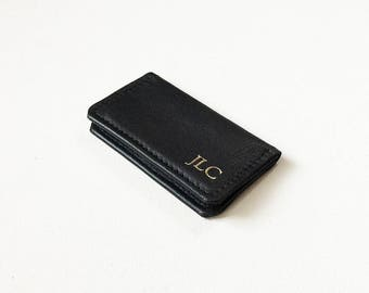 Monogrammed Leather SNAP Credit Card Wallet, Personalized Card Wallet, Leather Fold Wallet, ID Holder, Business Card Case, Metro Card Pouch