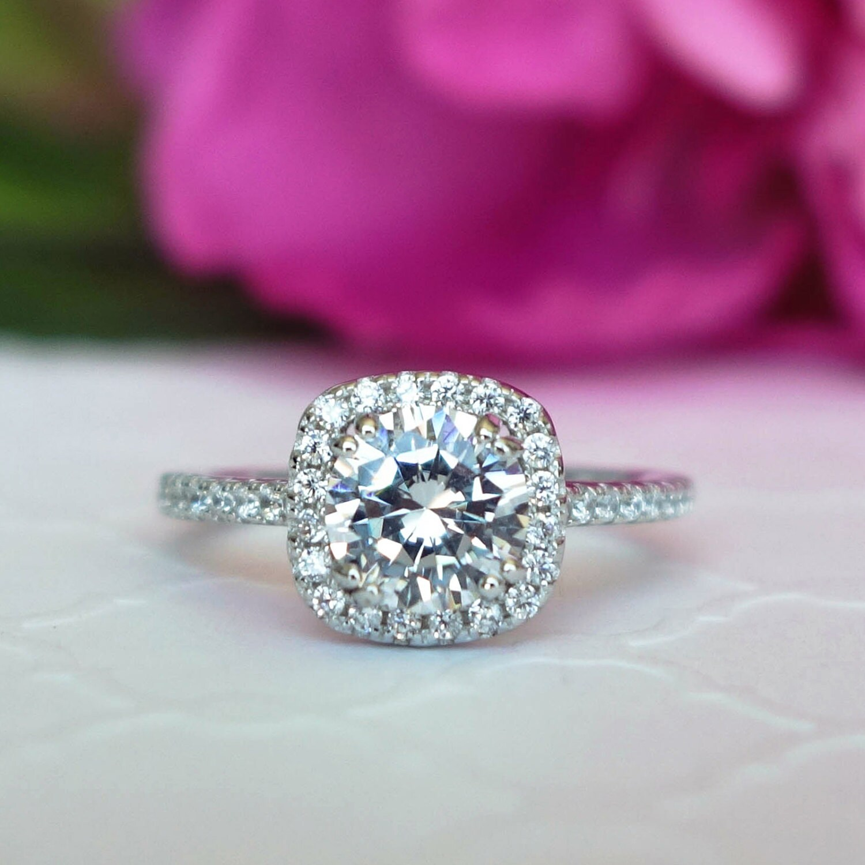 1.25 ctw Classic Square Halo Engagement Ring Man Made Diamond