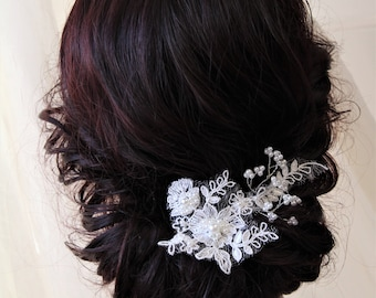 Champagne Blush Wedding Hair Comb , Vintage Style Lace Hair Comb, Bridal Headpiece, Bridal Hair Comb, Wedding accessories, Bridesmaid gift