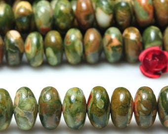 15 inches of Natural Green Birds Eye Rhyolite smooth rondelle beads in 5x8mm