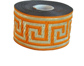 Orange  and Gold  Greek Key Jacquard  Ribbon  Trim