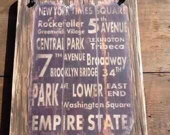 New York Wood Sign New York Wall Decor New York Wall Sign