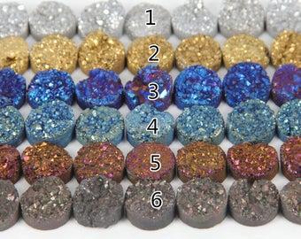 20mm Natural Titanium Druzy Beads, Flat Coin Round Beads, Druzy Pendants, Raw Druzy Quartz Stone Drilled Beads 5 pcs