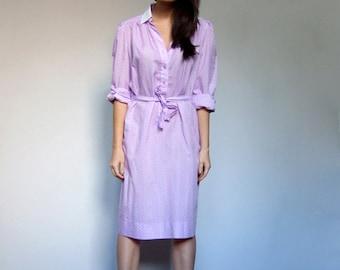 70s Shirt Dress Long Sleeve Pastel Purple White Patterned Shirtdress Vintage Collared Spring Dress - Large L