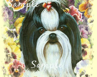 Shih Tzu Black and White Note Cards Set of 6 Colorful Pansies