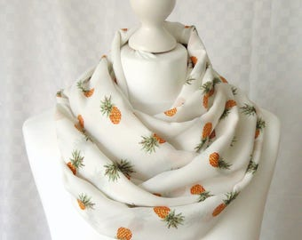 Pineapple infinity scarf, Circle scarf, Pineapple print scarf, Print scarf, Scarf for her, Lightweight scarf, Fashion scarf