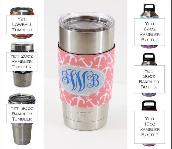 Monogram Insulator for Yeti Tumbler Sleeve 20 Oz or 30 Ounces Custom Personalized Monogram Bridal Bachelorette Party Gifts Cup Coolie Hug