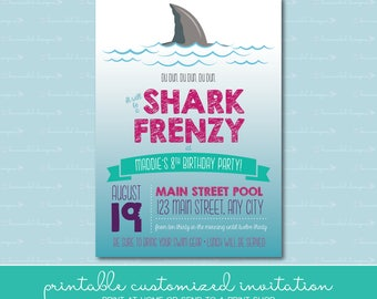 Shark Frenzy Birthday Invitation