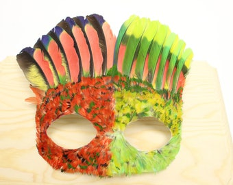 Red and Green Feather Mask #1