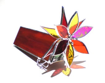 Soul Fire - 3D Stained Glass Kaleidoscope - Small Red Orange Yellow Lotus Flower Collectible Art Home Decor Suncatcher (READY TO SHIP)