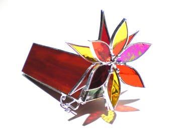 Seele Feuer - 3D Glasmalerei Kaleidoskop - kleine rot Orange gelb Lotus Blume Sammler Kunst Home Decor Suncatcher (sofort lieferbar)