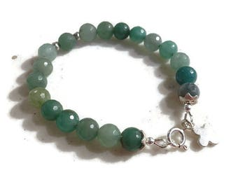 Jade Bracelet - Green Gemstone Jewellery - Sterling Silver Jewelry - Beaded - Charm