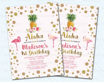 Digital Printable Luau / Aloha Birthday Invitation. Girl Birthday. Flamingo birthday
