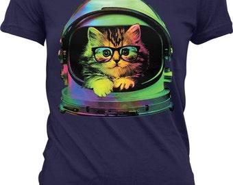 Space Kitten, Rainbow Astronaut Helmet, Galaxy Juniors T-shirt, NOFO_00371