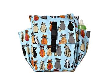 Toddler bag Cotton Children bag Kids day bag, diaper bag - Cats print