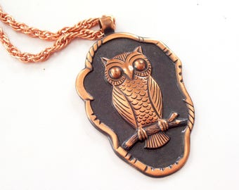 Copper Owl Pendant Necklace, Vintage BELL Copper OWL Bird Pendant Necklace, Bell Trading Post, Vintage Owl Necklace, Owl Jewelry