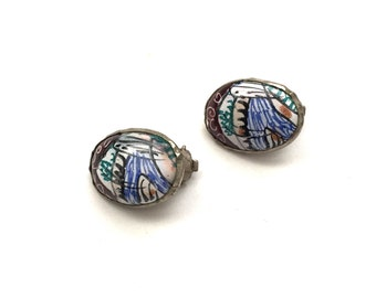 Vintage Persian Hand Painted Clip On Earrings