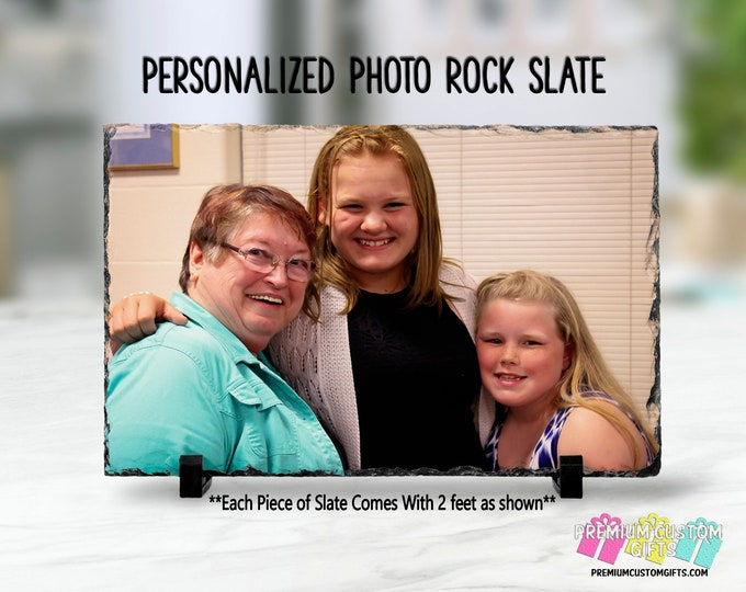Personalized Photo Slate Frame - Wedding - Graduation - Gift for Grandma - Real Slate Piece - Mother's Day Gift - Photo Touch Up Available