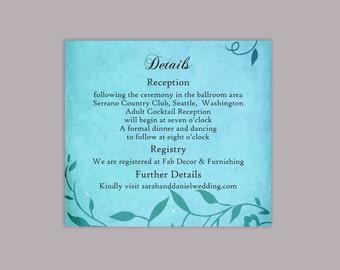 DIY Rustic Wedding Details Card Template Printable Wedding Details Card Editable Vintage Turquoise Blue Details Card Leaf Enclosure Cards