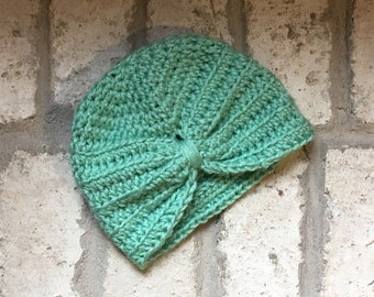 Baby Turban, Crocheted, light ocean/turquoise colored Sizes 0-12 months