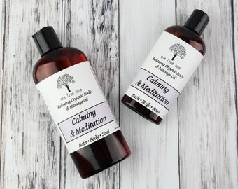 Organic Calming Massage Oil • Meditation • Yoga • 4 oz or 8 oz • Vegan Massage • Aromatherapy Oil • Relaxing •