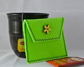 Green Tea Tote, Reusable Tea Pouch, Tea Bag Carrier, Tea Wallet, Tea Bag Pouch, Tea Accessory, Easter Gift