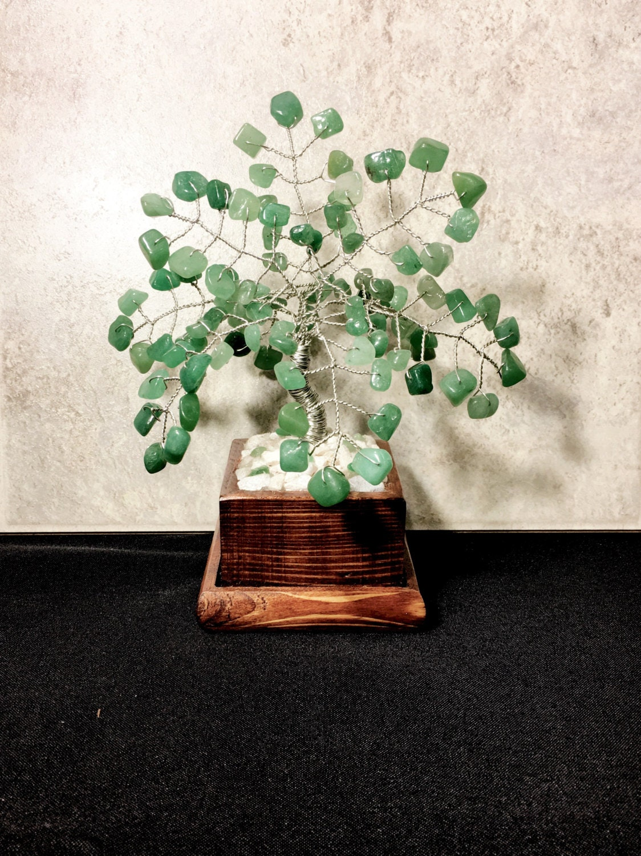 Grüne Adventurin Kristall Edelstein-Bonsai-Baum des Lebens