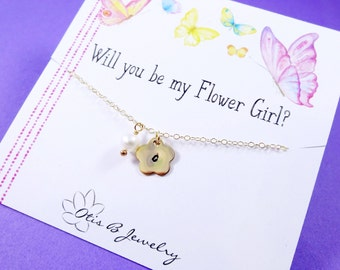 Flower girl Gift idea, Personalized flower girl or Junior bridesmaid necklaces, initial necklace for child, birthstone necklace, Otis B