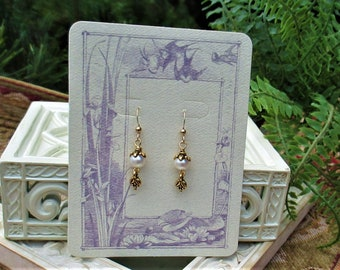 White Pearl Gold Earrings  Downton Abby Style Earrings 8mm White Pearl Gold Dangle Earrings Art Nouveau Yellow Pearl Gold Dangle Earrings