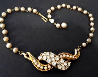 Rhinestone beads Necklace, necklace, bib, vintage, Neclace, rhinestone, pearls