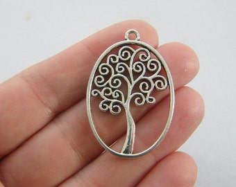 4 Tree charms antique silver tone T89