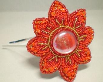 Beaded Flower Headband, flower hair band, red flower, bead embroidery, Poinsettia, glass gem. bead embroidered, bead flower, red fascinator