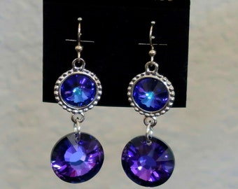 Purple Crystal Earrings Made with Purple Swarovski Crystal