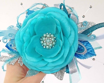 Sale Priced...Teal/Turquoise and Silver Corsage with matching Boutonniere for your Prom