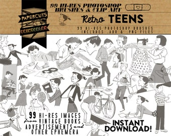 Retro Teens - 99 Hi-Res Photoshop Brushes / Clip Art / Image Pack - Includes .ABR and .PNG Files
