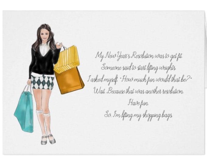 "Funny 5 X 7 Greeting Card ""Shopping Girl"""