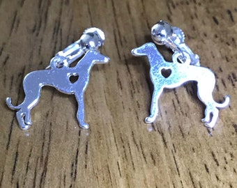 Greyhound Dog Jewelry CLIP ON Earrings with Silver Plt Greyhound or Whippet Heart Hound Charms