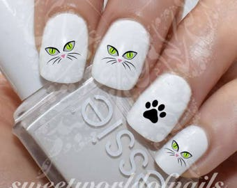 Nail Art Cat Eyes Paws Nail Water Decals Transfers Wraps