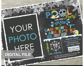"Joint Blue Winter Pool Birthday Party Chalkboard Invitation Snow Pool Boy Girl Twins Siblings - Photo - DIGITAL Printable Invite - 5"" x 7"""
