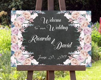 Wedding Welcome Chalkboard Sign, Wedding Decor, Party Decor, Digital Download, Digital Print, Personalized, Wedding Sign