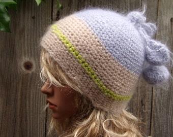 MOHAIR TAM Crochet Hand Knitted Mom Beanie Hat Ladies Autumn Winter Fashion Hat Women Slouchy Unique headdress Cool Cap Boho Modern Hippie