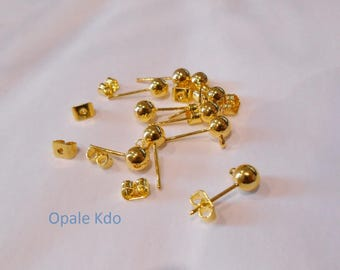 Set of 10 blank ball gold earrings
