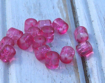Vintage Pink Glass Bead Lot 15 Beads