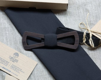 Wood bow tie. Wooden bowtie black wood   + pocket square. Man wood bowtie. Men Accessories. 100% hand made. Best xmas / birthday gift.