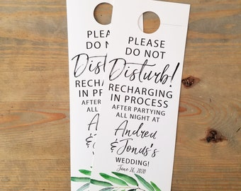 Greenery Do not disturb wedding door hangers, door hangers wedding, hotel door hangers, wedding sign, hotel room door, RC17009