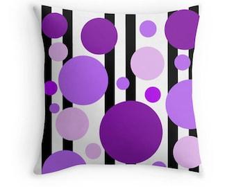 Purple Black Pillow, Purple Stripe Pillow, Purple Geometric Pillow, Purple Geometric Bedding, Purple Black Bedding, Purple Abstract Pillow