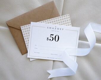Gift Card . Gift certificate . Gift voucher . Handmade Jewellery . perfect present SHAZOEY