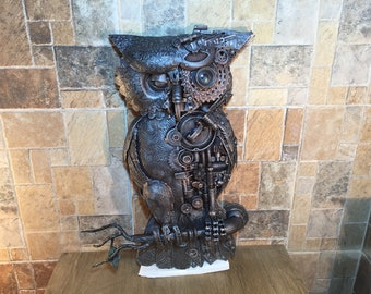 Steampunk owl, steampunk bird, metal sculpture, steampunk figurine,junk art,steampunk art,industrial art,steampunk gift,steam punk,steampunk