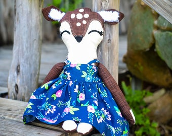 Stuffed Deer - Stuffed Animal Deer - Deer Toy - Deer Plush - Fabric Doll - Woodland Nursery Decor - Baby Shower Gift - Girls Christmas Gift