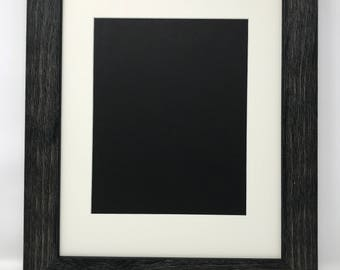 """11x14 1.75"""" Rustic Black Solid Wood Picture Frame with Cream Mat Cut for 8x10 Picture"""